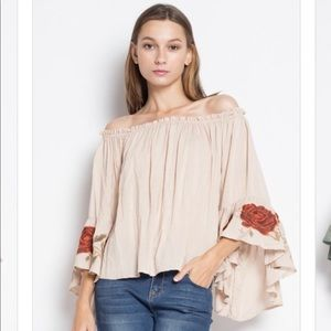 Tops - Off the shoulder bell sleeve embroidered top